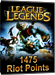 League of Legends - 1475 Riot Points Card Code